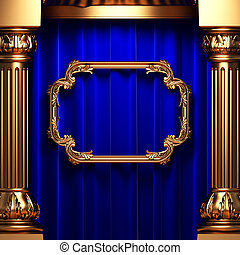 blue curtains, gold columns and frame made in 3d