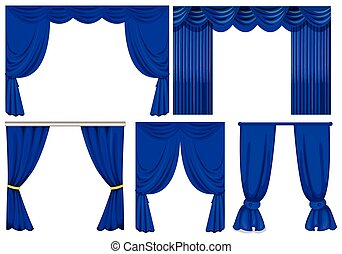 Blue curtains in different styles
