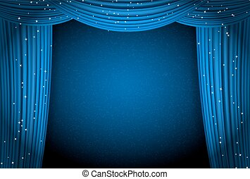 blue curtains on blue background with glittering stars. open...
