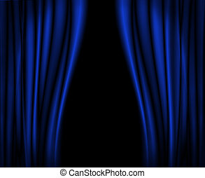 Blue curtains on stage.