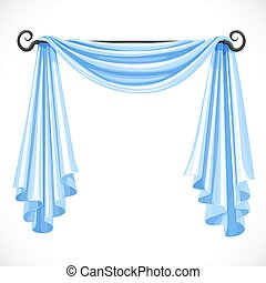 Blue curtains on the ledge forged isolated on a white background