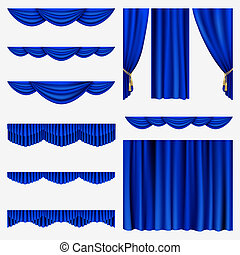 Set of blue curtains to theater stage. Mesh.