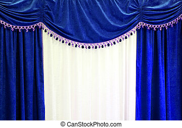 Blue curtains - Theatre style curtains in blue and white