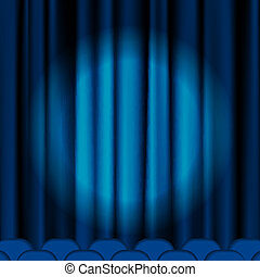 Blue curtains to theater stage. Mesh.EPS10.This file...