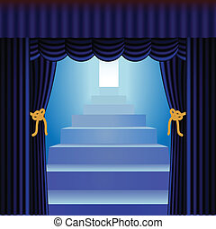 blue curtains with staircase - blue curtains framing blue...