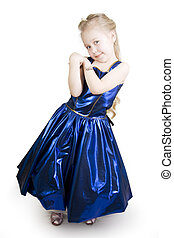 Blue curtsy Princess. - Little girl dressed as a pretty blue...