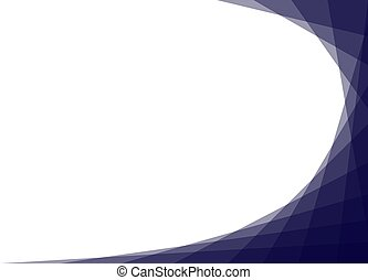 Blue curve corner isolated on white background. Abstract blue curve geometry frame.