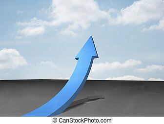 Blue curved arrow pointing up against sky