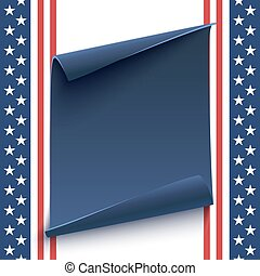 Blue, curved paper banner on top of American background.
