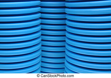 Blue curvilinear tubes for industry