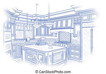 Blue Custom Kitchen Design Drawing on White - Beautiful...