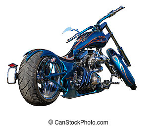 Blue Custom Moterbile - A blue custom motorbike isolated...