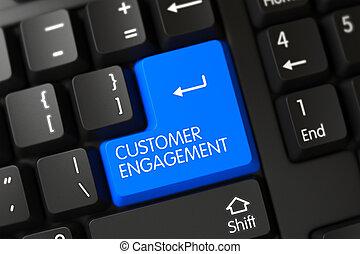 Blue Customer Engagement Button on Keyboard. 3D.