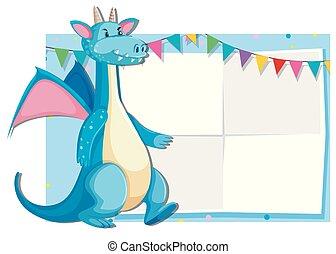 Blue cute dragon card template
