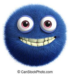 blue cute monster - furry monster