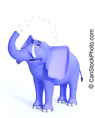 Blue cute toon elephant splashing water.