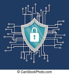 Blue cyber security system design - Padlock and circuit...