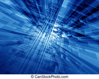 Blue cyberspace - Digital blue hi-tech matrix illumination