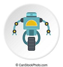 Blue cyborg on wheel icon circle