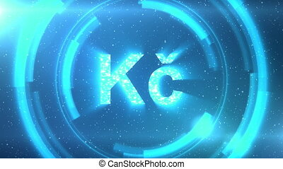 Blue Czech koruna currency symbol on space background with circles. Seamless loop.