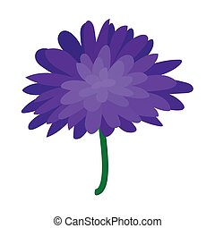 Blue dahlia icon, cartoon style