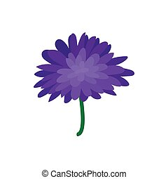 Blue dahlia icon, cartoon style