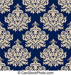 Blue damask seamless pattern with beige flourishes - Damask ...