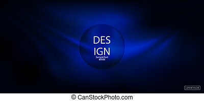 Blue dark abstract background with a silhouette of a round frame