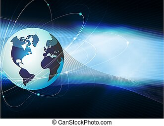 Blue dark background with silhouette of the globe and rays of light.
