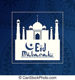 blue dark color background geometric round arabic ornament with silhouette Eid Mubarak mosque in square frame