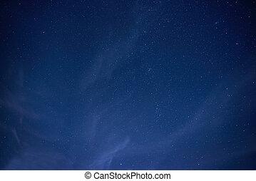 Blue dark night sky with many stars. Space background