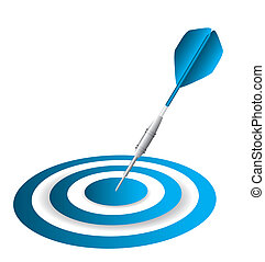 dart and dartboard - blue dart and dartboard isolated over...