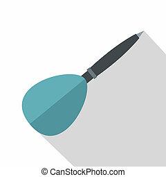 Blue dart arrow icon, flat style