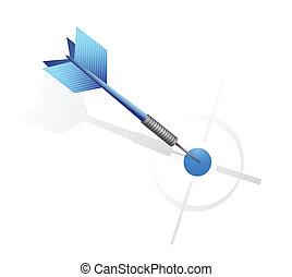 blue dart hitting the target. illustration design over a...