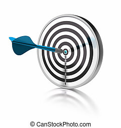 blue dart pointing the center o a target, the target is isolated over white background