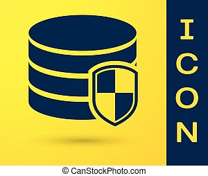 Blue Database protection icon isolated on yellow background. Secure database icon. Vector Illustration