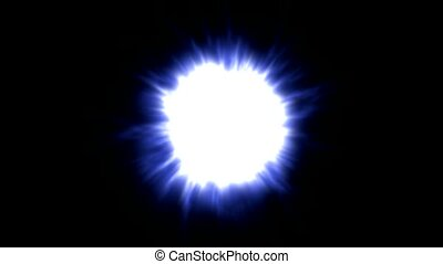 blue dazzling light,explosion