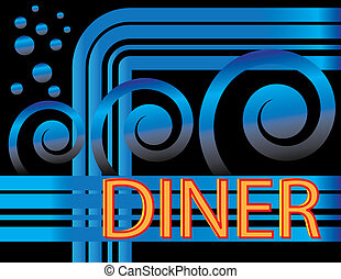 Blue Deco Diner - Details of a diner sign are featured in an...