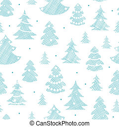 Blue decorated Christmas trees silhouettes textile seamless...