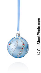 Blue decorations Christmas ball hanging on ribbon Isolated on wh