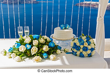 Blue decorations for wedding ceremony