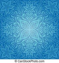 Blue Decorative Flowers, Vintage Wallpaper Background ornate mandala design