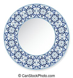 Blue decorative plate with pattern.