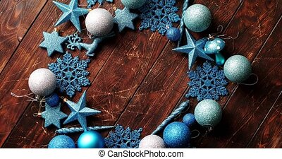Blue decorative snowflakes and balls - From above view of...