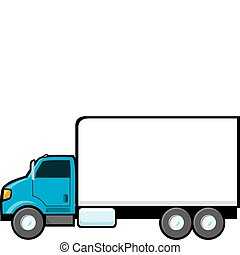 A blue delivery truck with a blank side for text.