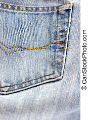 Denim - Blue Denim jeans pocket close-up
