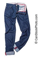 Blue denim luxury male pants isolated on white background