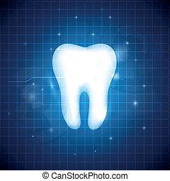 Blue dental design - Healthy white tooth illustration....
