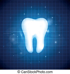 Healthy white tooth illustration. Abstract blue dental design.