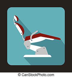 Blue dentist chair icon, flat style